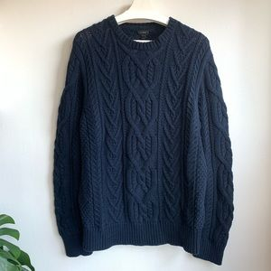 J crew navy blue cable knit sweater EUC